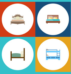 flat bed set of bunk bed bed bedroom and other vector image
