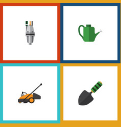 flat icon dacha set of pump lawn mower bailer vector image
