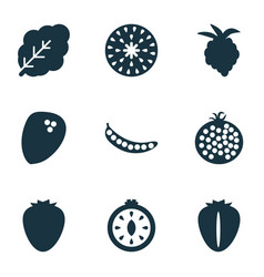 food icons set with coconut peas strawberry and vector image