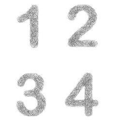 Furry sketch font set - numbers 1 2 3 4 vector image
