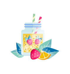 glass jar with lemon-strawberry cocktail vector image