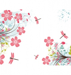 Grunge flower background vector