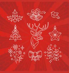 hand drawn christmas emblem winter holiday vector image