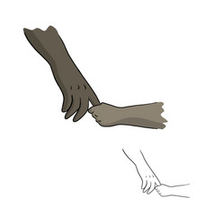 hand of african american person holding a child vector image