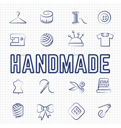 handmade hobby linear icons set vector image