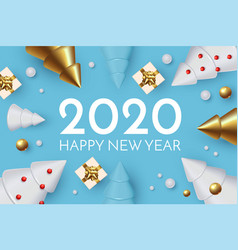 happy new 2020 year holiday greeting with 3d fir vector image