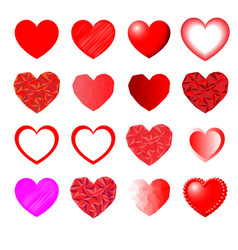 heart set for valentine days vector image