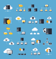 Hosting services icons set vector