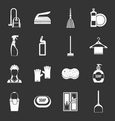 house cleaning icons set grey vector image