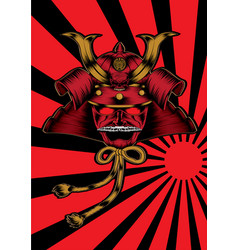 Japanese warrior samurai sun head pate noddle vector