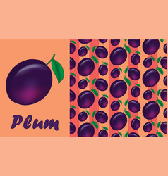juicy plum pattern vector image