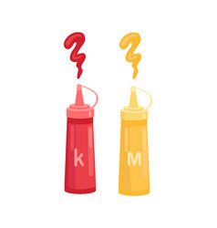 ketchup and mustard in bottle cartoon icon vector image