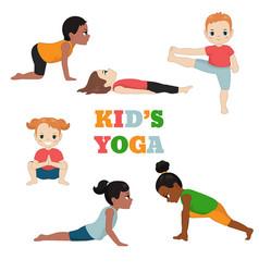 kids doing yoga kids doing yoga vector image