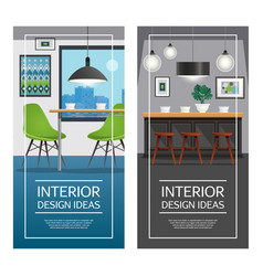 Kitchen interior design vertical banners vector