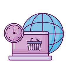 Laptop with planet and shopping basket vector