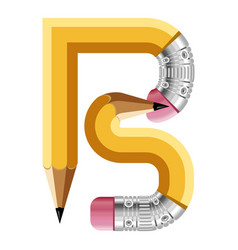 Letter b pencil icon cartoon style vector