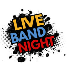 live band night grunge rubber stamp vector image
