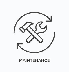 maintenance flat line icon outline vector image