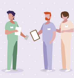 Male medicine workers with uniforms vector