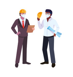 Men engineer and executive with mask and helmet vector