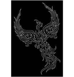 Mythical phoenix bird on dark background vector