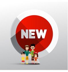 new circle red label with family paper symbol vector image
