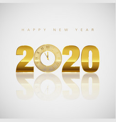 new year greeting card golden clock instead vector image