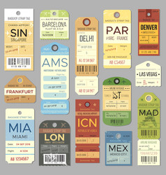 Old luggage tag or label with flight register vector