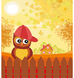 owl in autumn day vector image