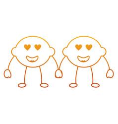 pair kawaii lemon cartoon cheerful character vector image