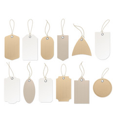Paper hanging labels vintage blank craft organic vector
