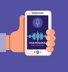 personal assistant and voice recognition on mobile vector image