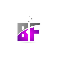 Pink grey alphabet letter combination bf b f for vector
