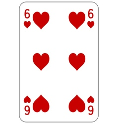 Poker playing card 6 heart vector image