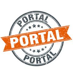 Portal round grunge ribbon stamp vector