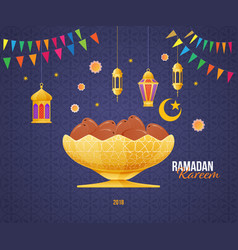 Ramadan kareem greeting card with picture fruit vector