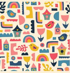 scandinavian kids pattern birds rainbows vector image