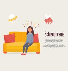 Schizophrenia poster girl having hallucinations vector