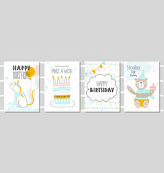 Set of birthday greeting cards and party vector