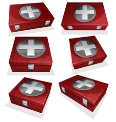 Set of First aid kit box vector image