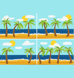set of four images with cartoon nature landscapes vector image