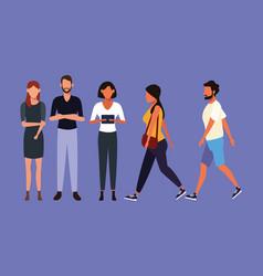 set of people walking vector image