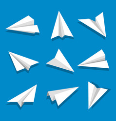 set paper planes isolated on blue background vector image