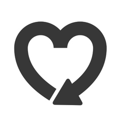 Silhouette heart shape symbol of reload icon vector