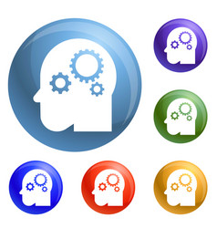 smart mind gear icons set vector image