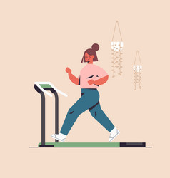 Sportswoman running on treadmill girl having vector