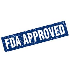 Square grunge blue fda approved stamp vector