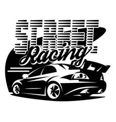 street racing car monochrome vector image