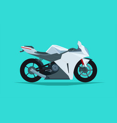 Street stylish racing bike white motorcycle vector