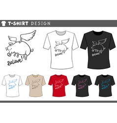 t shirt design with flying pig vector image